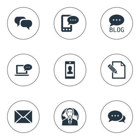 Vectorillustratiereeks Eenvoudige Gebruikerspictogrammen. Elementen Profiel, Post, Roddels en Andere synoniemen Smartphone, Argument en Internationaal.