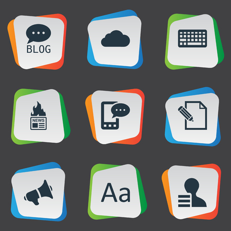 Vector Illustration Set Of Simple Newspaper Icons. Elements Gain, Site, Cedilla And Other Synonyms Site, Earnings And Laptop.