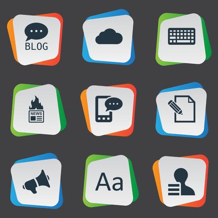 Vectorillustratiereeks Eenvoudige Krantenpictogrammen. Elements Gain, Site, Cedilla en andere synoniemenwebsite, verdiensten en laptop. Stockfoto - 77343324