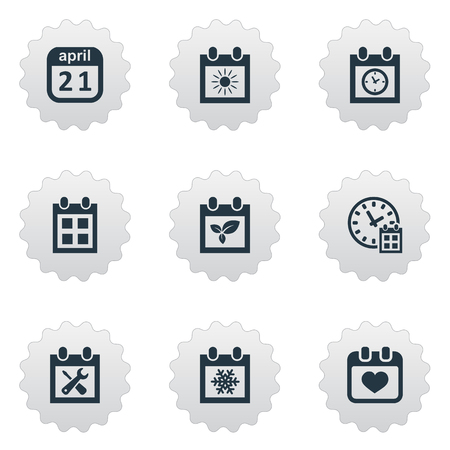 flotation: Vector Illustration Set Of Simple Date Icons. Elements Plant, Planner, Deadline And Other Synonyms Calendar, Reminder And Date.