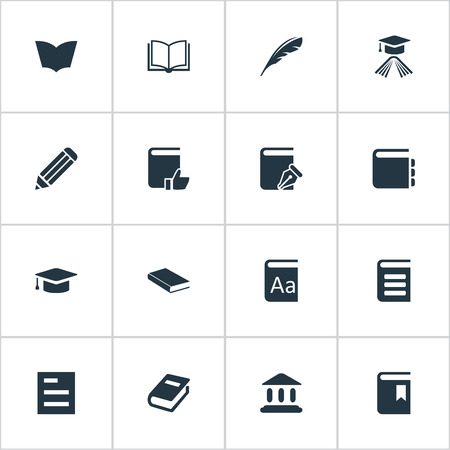 Vector Illustration Set Of Simple Books Icons. Elements Tasklist, Academic Cap, Blank Notebook And Other Synonyms Reading, Catalog And Sketchbook.