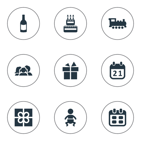 Vector Illustration Set Of Simple Celebration Icons. Elements Domestic, Train, Box And Other Synonyms History, Days And Beverage.