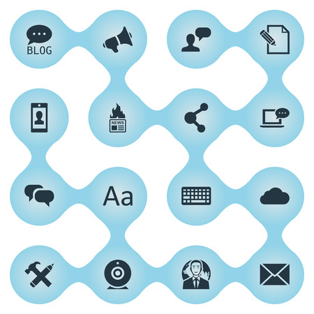 Vector Illustration Set Of Simple Blogging Icons. Elements Gossip, Laptop, Profile And Other Synonyms Relation, Message And Cloud.
