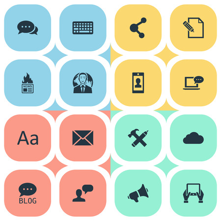 Vector Illustration Set Of Simple Newspaper Icons. Elements Post, Loudspeaker, Site And Other Synonyms Keyboard, Speaker And Hot. Illustration
