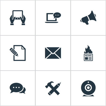 Vector Illustration Set Of Simple Newspaper Icons. Elements Document, Post, Argument And Other Synonyms Pencil, Tablet And Writing.