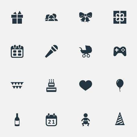 Illustration Set Of Simple Holiday Icons. Elements Decorations;, Speech, Domestic And Other Synonyms Beverage, Box And Cake.