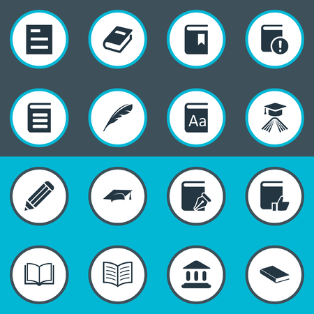 Illustration Set Of Simple Books Icons. Elements Sketchbook, Notebook, Recommended Reading And Other Synonyms Recommended, Important And Pen. Illustration