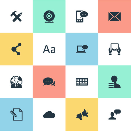 Vector Illustration Set Of Simple Newspaper Icons. Elements Notepad, Document, Argument And Other Synonyms Pen, Hand And Loudspeaker.