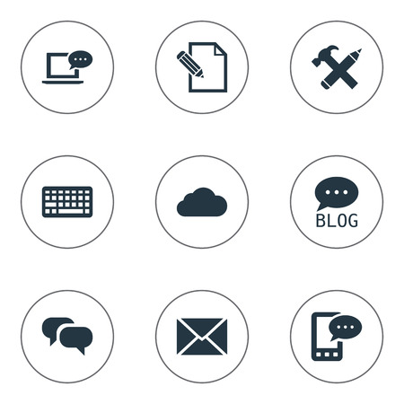 Vector Illustration Set Of Simple Blogging Icons. Elements Repair, Post, Gossip And Other Synonyms Phone, Pencil And Pen.