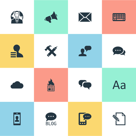 Vectorillustratiereeks Eenvoudige Gebruikerspictogrammen. Elementen reparatie, Argument, Gazette en andere synoniemen Laptop, brief en internationaal.