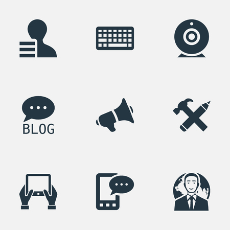 Illustration Set Of Simple Blogging Icons. Elements Keypad, Repair, Gain And Other Synonyms Speaker, Web And Loudspeaker. Çizim