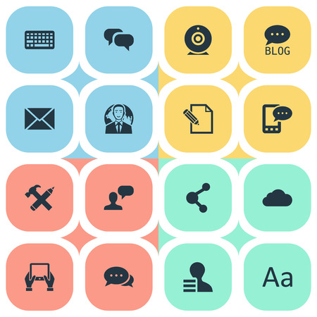 Illustration Set Of Simple Blogging Icons. Elements Broadcast, Argument, Document And Other Synonyms Message, Man And Negotiation. Çizim