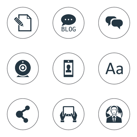 Illustration Set Of Simple User Icons. Elements International Businessman, Gossip, Notepad And Other Synonyms Notepad, Typography And Network.