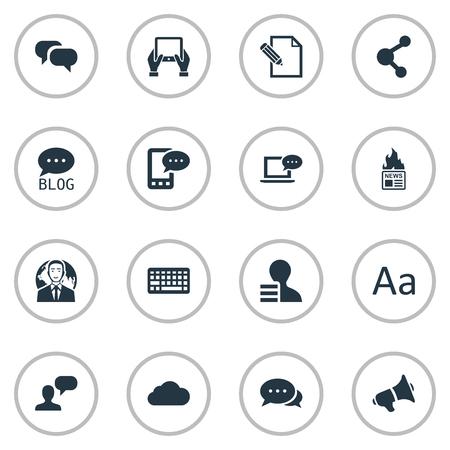 Vectorillustratiereeks Eenvoudige Gebruikerspictogrammen. Elementen Laptop, Man Overweging, Gain en andere synoniemen Roddels, Forum en E-Letter.