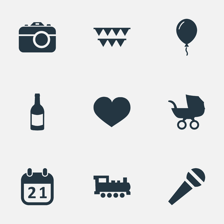 Vector Illustration Set Of Simple Celebration Icons. Elements Speech, Soul, Baby Carriage And Other Synonyms Feelings, Heart And Photo. Illustration