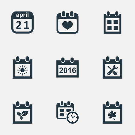 Vector Illustration Set Of Simple Date Icons. Elements Date, Reminder, 2016 Calendar And Other Synonyms Plant, Heart And Leaf. Illustration