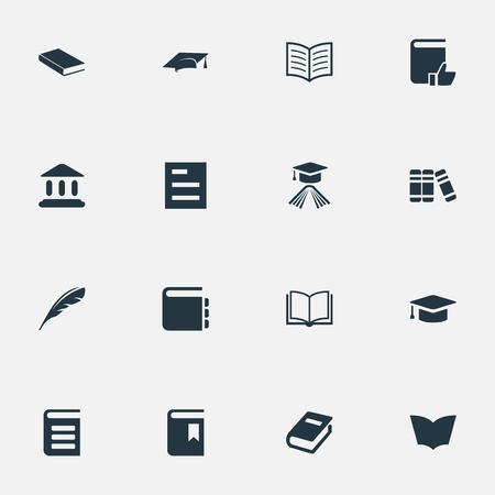 Illustration vectorielle définie des icônes de lecture simple. Éléments Encyclopédie, Bibliothèque, Journal Et Autres Synonymes Académie, Encyclopédie Et Bibliothèque. Banque d'images - 77379823