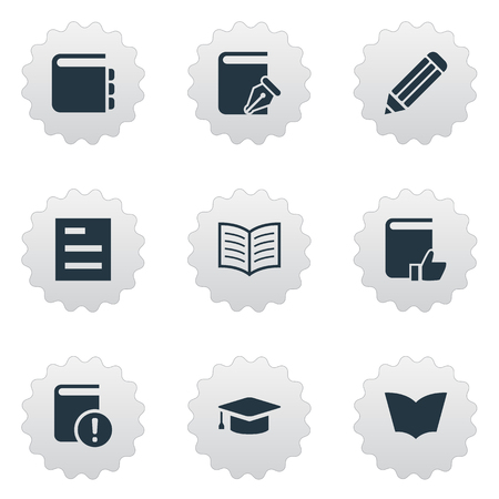 Vector Illustration Set Of Simple Books Icons. Elements Book Page, Reading, Sketchbook And Other Synonyms Academic, Document And Book. Illustration