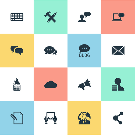 advantages: Vector Illustration Set Of Simple User Icons. Elements Overcast, Document, Post And Other Synonyms Contract, Share And Profit.