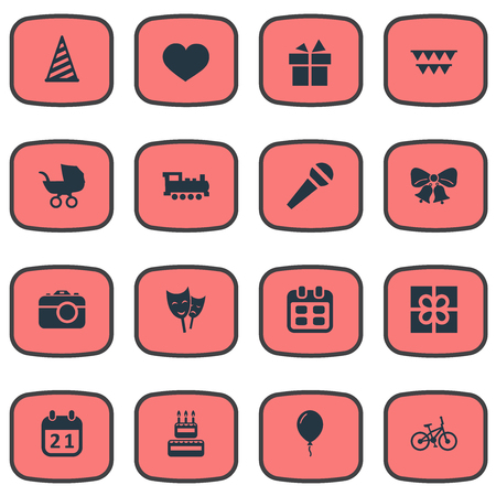 Vector Illustration Set Of Simple Birthday Icons. Elements Camera, Decorations;, Ribbon And Other Synonyms Steam, Ribbon And Baby.