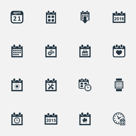 Vector Illustration Set Of Simple Time Icons. Elements Intelligent Hour, Special Day, Annual And Other Synonyms Heart, Repair And Annual.