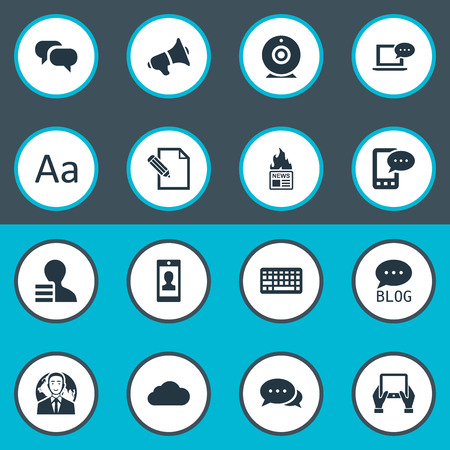 Vector Illustration Set Of Simple Newspaper Icons. Elements Gain, Gossip, E-Letter And Other Synonyms Web, International And Contract. Çizim