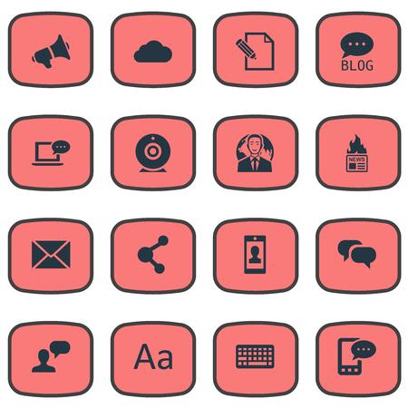 Vectorillustratiereeks Eenvoudige Gebruikerspictogrammen. Elementen site, bewolkt, delen en andere synoniemen komen, laptop en roddels. Stock Illustratie