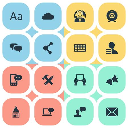 Vector illustratie Set van eenvoudige bloggen pictogrammen. Elements Post, Bewolkt, Kladblok en ander synoniemennieuws, Kladblok en spraak.