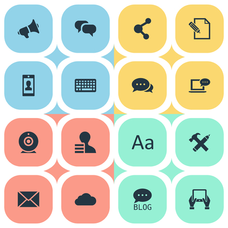 Vector Illustration Set Of Simple Newspaper Icons. Elements Gossip, Broadcast, Profile And Other Synonyms Repair, Coming And Smartphone.