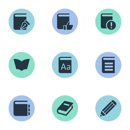 open notebook: Vector Illustration Set Of Simple Reading Icons. Elements Notebook, Alphabet, Reading And Other Synonyms Notebook, Favored And Recommended.