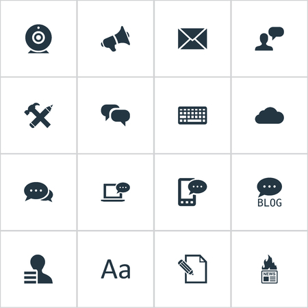 Vector Illustration Set Of Simple Blogging Icons. Elements Gain, Gazette, Laptop And Other Synonyms Gain, Web And Overcast.