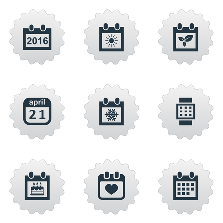 Vector Illustration Set Of Simple Date Icons. Elements Remembrance, 2016 Calendar, Snowflake And Other Synonyms Reminder, Agenda And Heart. Illustration