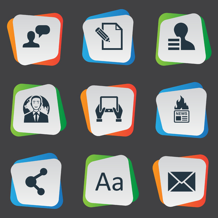 Vector Illustration Set Of Simple Newspaper Icons. Elements Cedilla, International Businessman, Notepad And Other Synonyms Hot, Share And Epistle. Illustration