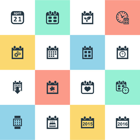 Vector Illustration Set Of Simple Plan Icons. Elements Date Block, Leaf, 2016 Calendar And Other Synonyms Time, Block And Heart. Illustration