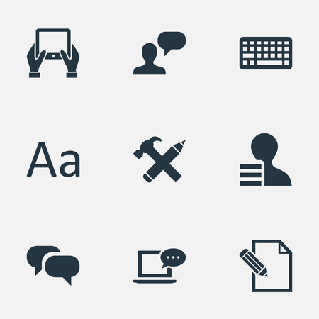 Vectorillustratiereeks Eenvoudige Krantenpictogrammen. Elementen reparatie, document, Kladblok en andere synoniemencontract, komst en roddel.