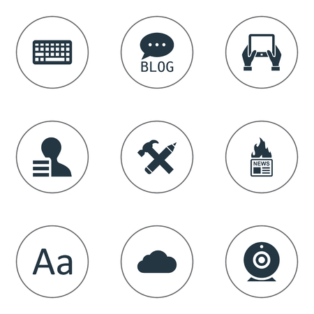 Vector Illustration Set Of Simple User Icons. Elements Repair, Gain, Gazette And Other Synonyms Earnings, Site And Pencil. Ilustrace
