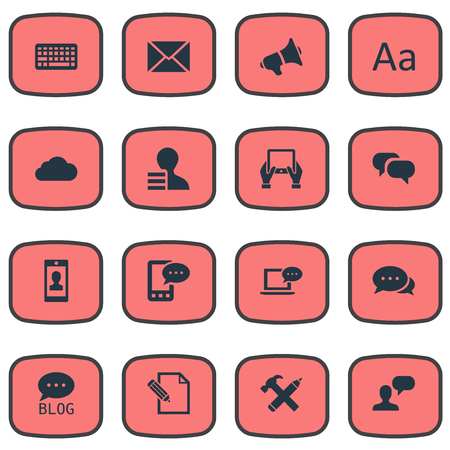 Vector Illustration Set Of Simple User Icons. Elements Gain, Gossip, Repair And Other Synonyms Pen, Conversation And Epistle.