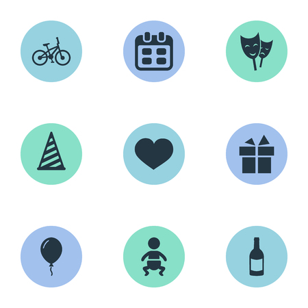Vector Illustration Set Of Simple Holiday Icons. Elements Mask, Infant, Aerostat And Other Synonyms Date, Heart And Champagne. Ilustração