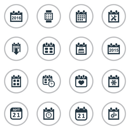Vector Illustration Set Of Simple Plan Icons. Elements Planner, Remembrance, History And Other Synonyms Date, Repair And Time.