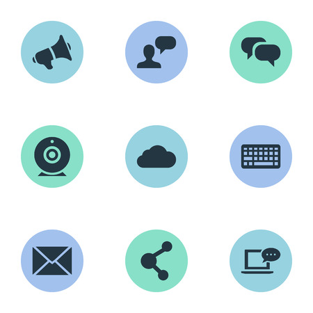 Vector Illustration Set Of Simple Blogging Icons. Elements Share, Post, Broadcast And Other Synonyms Post, Broadcast And Speaker.