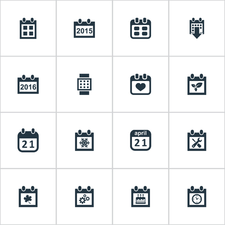Vector Illustration Set Of Simple Calendar Icons. Elements 2016 Calendar, Snowflake, Plant And Other Synonyms Spring, Heart And Data.