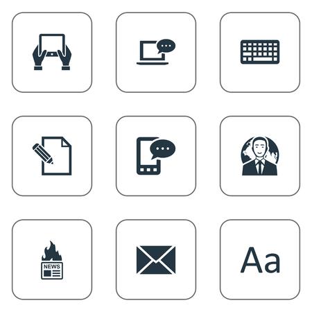 벡터 일러스트 레이 션 간단한 블로깅 아이콘의 집합입니다. 요소 키패드, 포스트, 전자 문자 및 기타 동의어 Cedilla, Keypad and Laptop.
