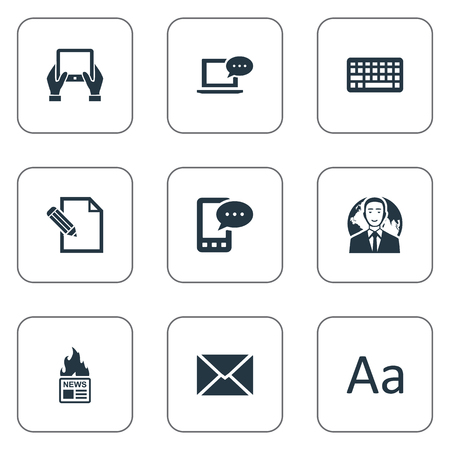 missive: Vector Illustration Set Of Simple Blogging Icons. Elements Keypad, Post, E-Letter And Other Synonyms Cedilla, Keypad And Laptop.