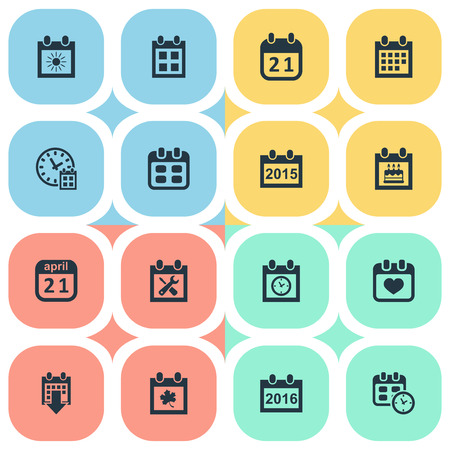 Vector Illustration Set Of Simple Date Icons. Elements Reminder, History, 2016 Calendar And Other Synonyms Calendar, History And Birthday. Illustration