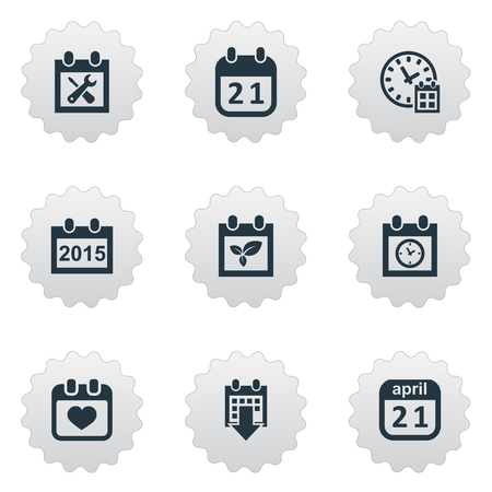 Vector Illustration Set Of Simple Calendar Icons. Elements Plant, Planner, Deadline And Other Synonyms April, Calendar And Spring. Illustration