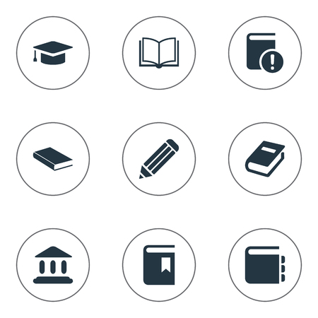 Vector Illustration Set Of Simple Books Icons. Elements Pen, Journal, Notebook And Other Synonyms Academy, Graduation And Pencil.