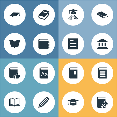 Vector Illustration Set Of Simple Knowledge Icons. Elements Recommended Reading, Notebook, Blank Notebook And Other Synonyms Writing, Recommended And Catalog.