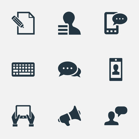 Illustration Set Of Simple Blogging Icons. Elements Man Considering, E-Letter, Argument And Other Synonyms Smartphone, Man And Discussion. Illustration