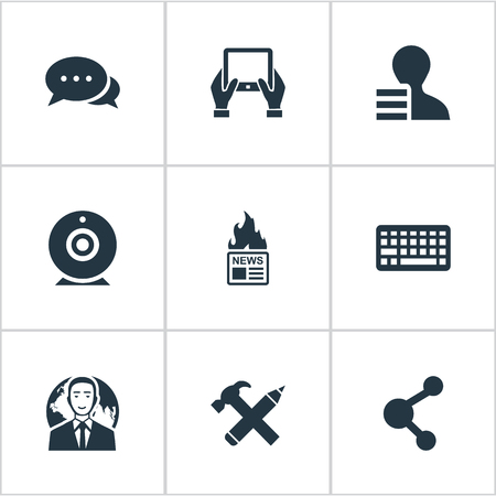 Illustration Set Of Simple Newspaper Icons. Elements Broadcast, Keypad, International Businessman And Other Synonyms Broadcast, Keyboard And Discussion.