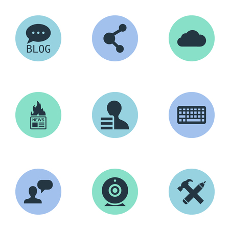 Vector Illustration Set Of Simple User Icons. Elements Overcast, Gain, Man Considering And Other Synonyms Sky, News And Cloud. Çizim
